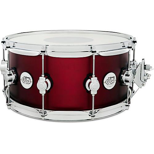 DW Design Series Maple Snare Drum, Chrome Hardware 14 x 6.5 in. Crimson Satin Metallic
