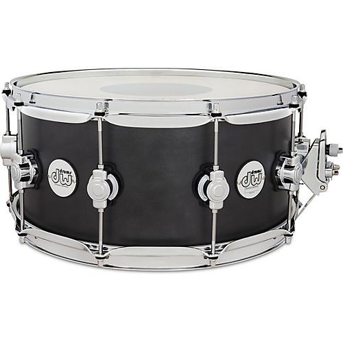DW Design Series Maple Snare Drum, Chrome Hardware 14 x 6.5 in. Iron Satin Metallic