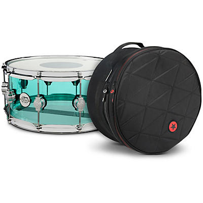 DW Design Series Sea Glass Acrylic Snare Drum, Chrome Hardware with Road Runner Bag