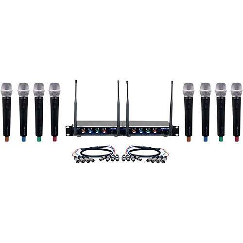 VocoPro Digital-Acapella-8 8-Channel UHF Wireless Handheld Microphone System 902-928 MHz Black