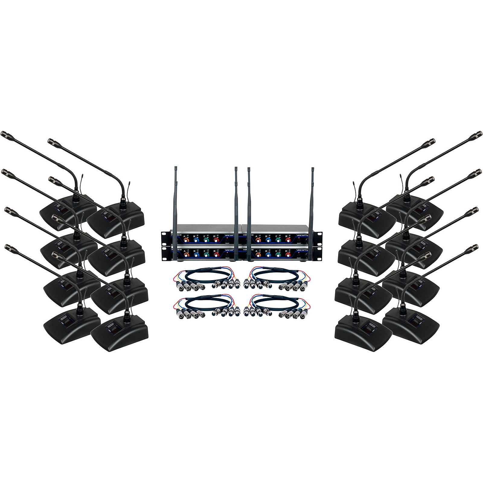 Vocopro Digital-Conference-12 Sixteen Channel UHF Wireless Conference Microphone System