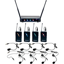 VocoPro Digital-Quad-B3 Four Channel UHF Digital Wireless Headset & Lapel Microphone - Frequency Set 3