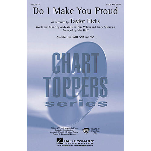 Hal Leonard Do I Make You Proud ShowTrax CD by Taylor Hicks Arranged by Mac Huff