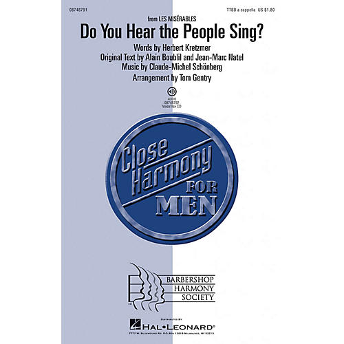 Hal Leonard Do You Hear the People Sing? (from Les Misérables) TTBB A Cappella arranged by Tom Gentry