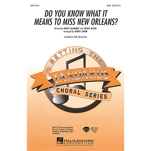 Hal Leonard Do You Know What It Means to Miss New Orleans SAB arranged by Kirby Shaw