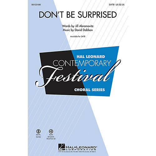 Hal Leonard Don't Be Surprised SATB composed by David Dabbon