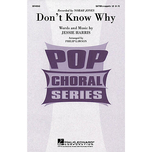 Hal Leonard Don't Know Why SATTBB A Cappella by Norah Jones arranged by Philip Lawson