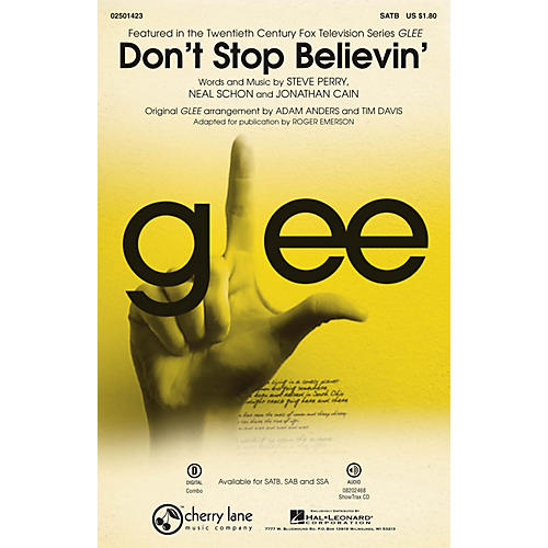 Cherry Lane Don't Stop Believin' (from Glee) ShowTrax CD by Journey Arranged by Roger Emerson