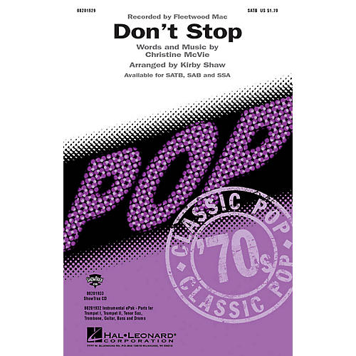 Hal Leonard Don't Stop SATB by Fleetwood Mac arranged by Kirby Shaw