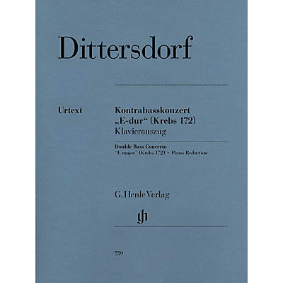 G. Henle Verlag Double Bass Concerto E Major Krebs 172 (Double Bass and Piano) Henle Music Folios Series Softcover