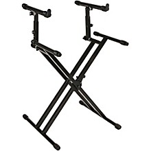 Open Box Quik-Lok Double-Tier Double-Braced Keyboard Stand