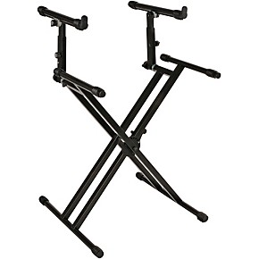 quik lok double tier double braced keyboard stand musician 39 s friend. Black Bedroom Furniture Sets. Home Design Ideas