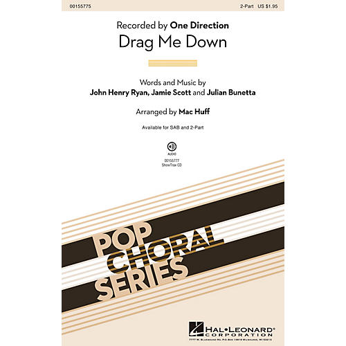Hal Leonard Drag Me Down 2-Part by One Direction arranged by Mac Huff