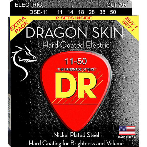 DR Strings Dragon Skin (2 Pack) Hard Coated Electric Guitar Strings (11-50)