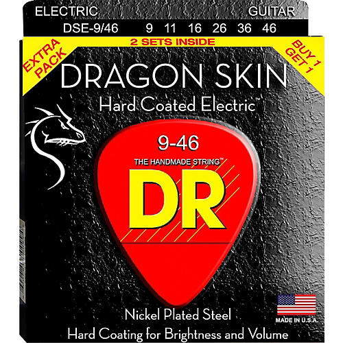 DR Strings Dragon Skin (2 Pack) Hard Coated Electric Guitar Strings (9-46)