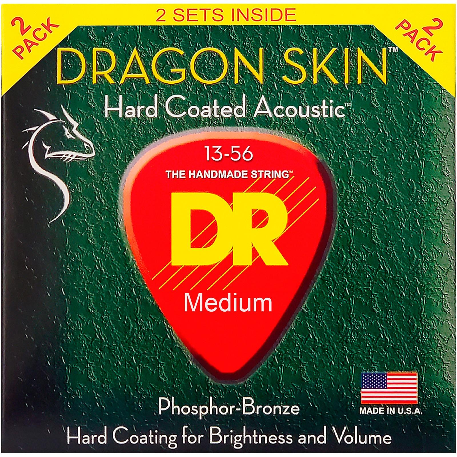 DR Strings Dragon Skin Clear Coated Phosphor Bronze Heavy Acoustic Guitar Strings (13-56) 2 Pack