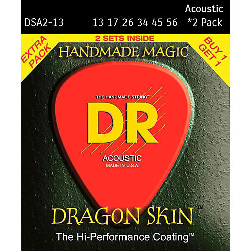 DR Strings Dragon Skin Clear Coated Phosphor Bronze Heavy Acoustic Guitar Strings (13-56) 2 Pack
