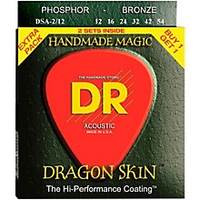 DR Strings Dragon Skin Clear Coated Phosphor Bronze Medium Acoustic Guitar Strings (12-54) 2 Pack