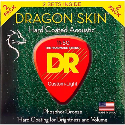 DR Strings Dragon Skin Clear Coated Phosphor Bronze Medium-Light Acoustic Guitar Strings (11-50) 2 Pack