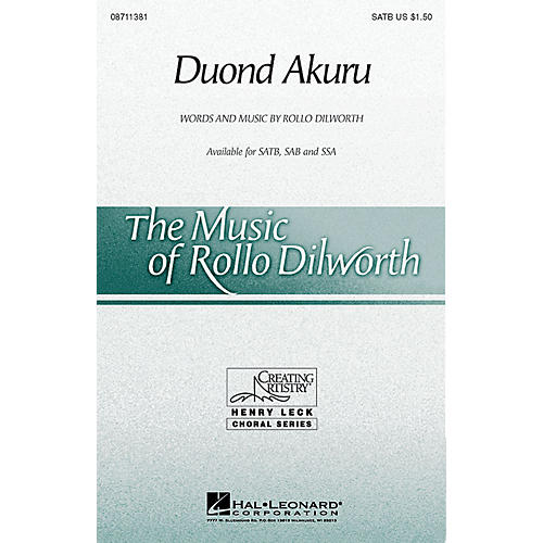 Hal Leonard Duond Akuru SATB composed by Rollo Dilworth