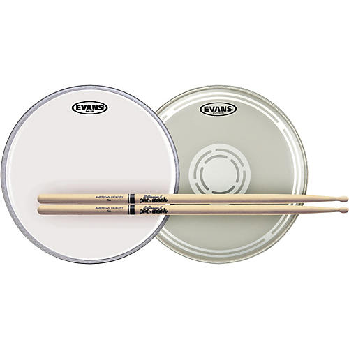 Evans EC Reverse Dot Snare Batter and Snare Side Head Pack With Free Pair of Promark Sticks Wood 5A