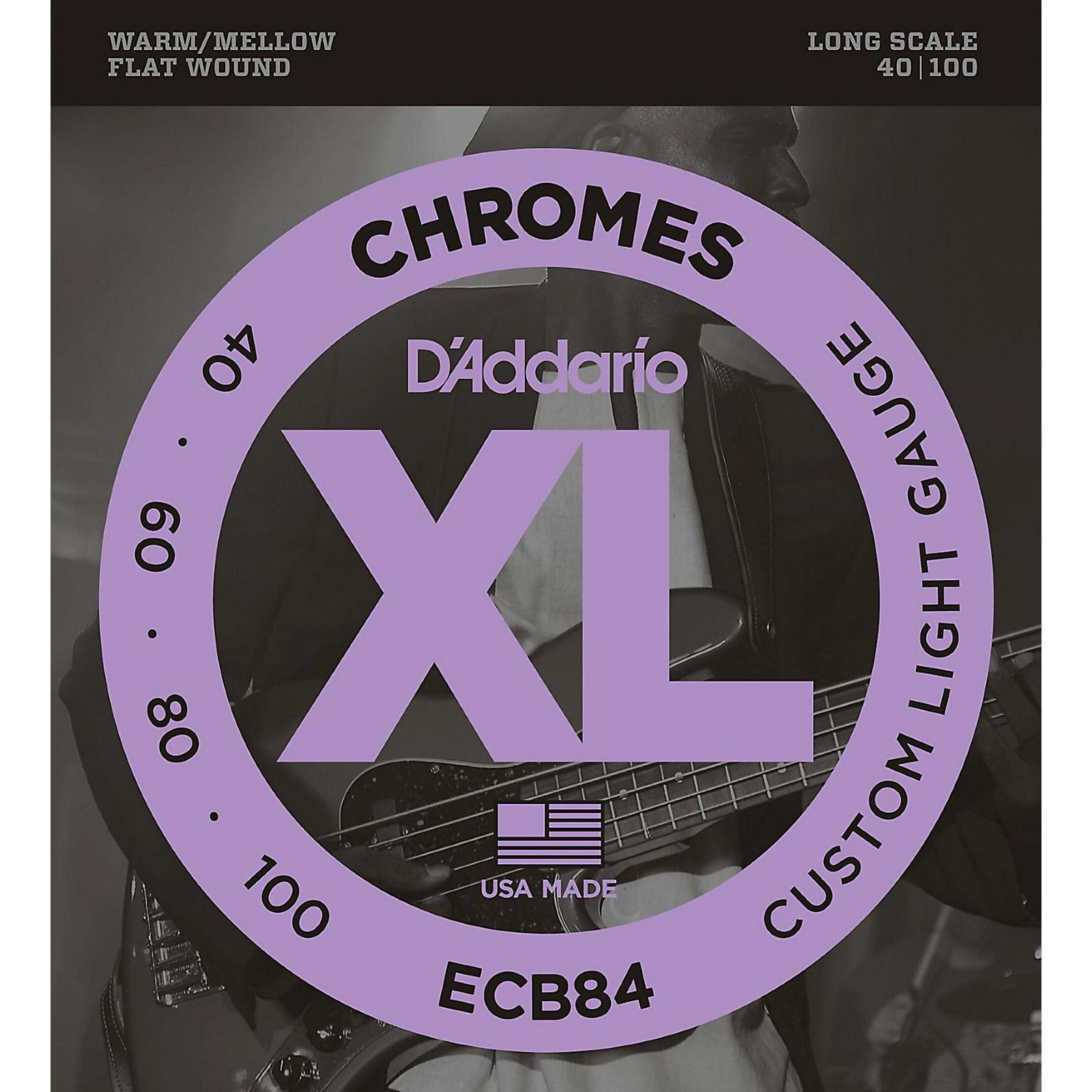 D'Addario ECB84 Chromes Flat Wound Custom Light Long Scale Electric Bass Strings