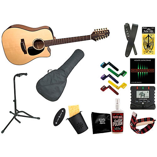 Takamine EG345C 12-String Dreadnought Acoustic-Electric Guitar Bundle