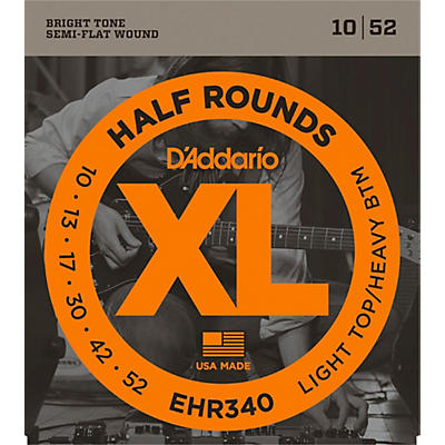 D'Addario EHR340 Half Round Light Top Heavy Bottom Electric Guitar Strings