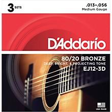 D'Addario EJ12-3D 80/20 Bronze Medium Acoustic Guitar Strings 3-Pack
