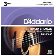 D'Addario EJ13-3D 80/20 Bronze Custom Light Acoustic Guitar Strings 3-Pack
