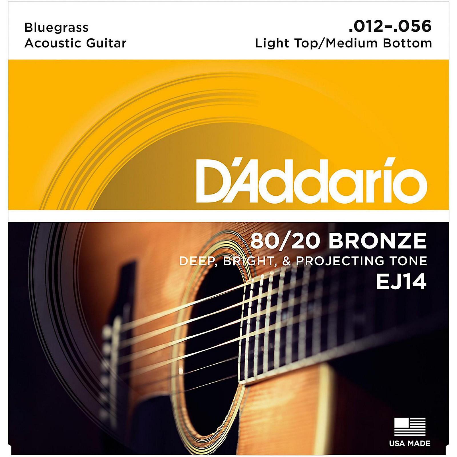 D'Addario EJ14 80/20 Bronze Bluegrass Medium Light Acoustic Guitar Strings