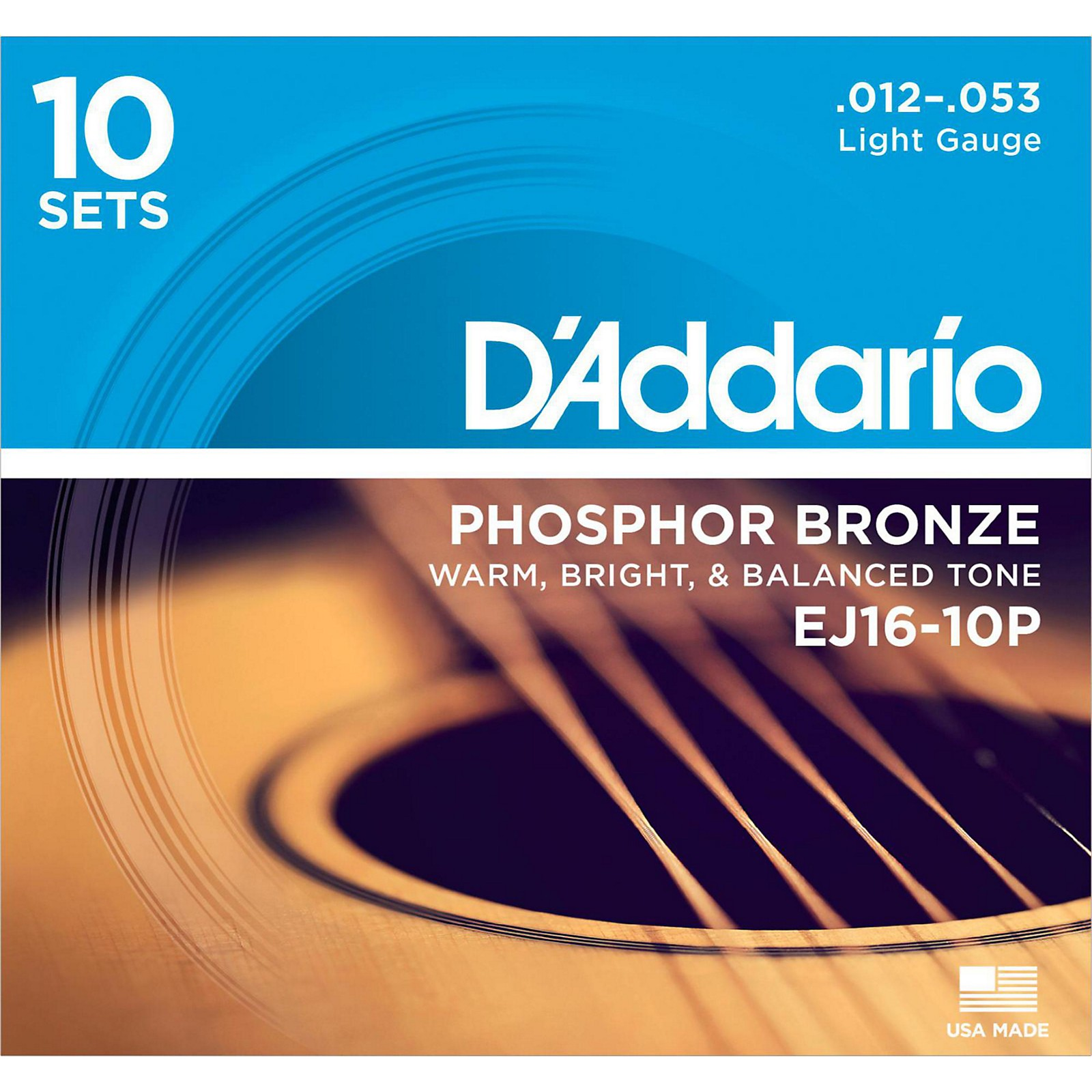 D'Addario EJ16-10P Phosphor Bronze Light Acoustic Guitar Strings (10-Pack)
