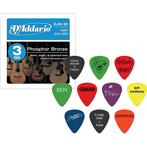 D'Addario EJ16 Acoustic Guitar Strings 3-Pack with Free Picks
