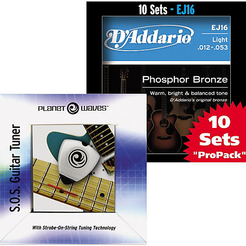 D'Addario EJ16 Strings 10-Pack with Free SOS Strobe Pick Tuner