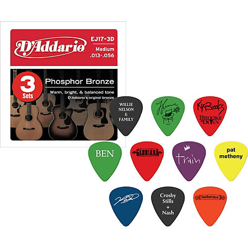 D'Addario EJ17 Acoustic Guitar Strings 3-Pack with Free Picks