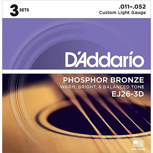 D'Addario EJ26-3D 3-Pack Custom Light Acoustic Guitar Strings