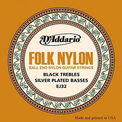 D'Addario EJ32 Folk Nylon Silver/Ball End Black Treble Guitar Strings