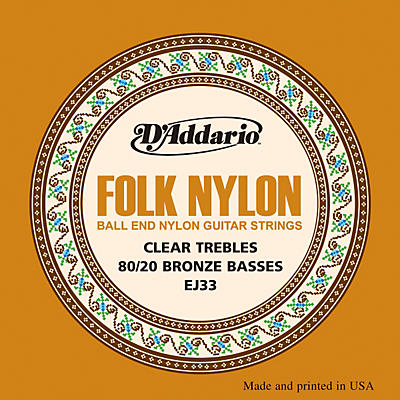 D'Addario EJ33 Folk Nylon 80/20 Bronze/Ball End Clear Treble Guitar Strings