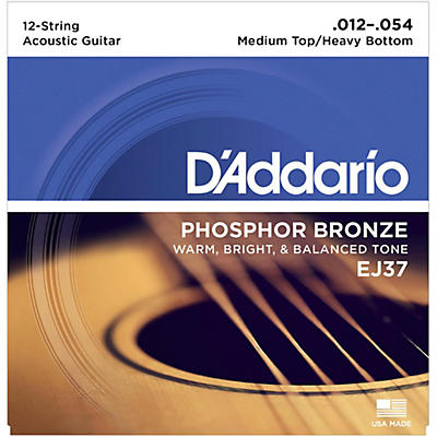 D'Addario EJ37 12-String Phosphor Bronze Acoustic Guitar Strings - Medium Top Heavy Bottom