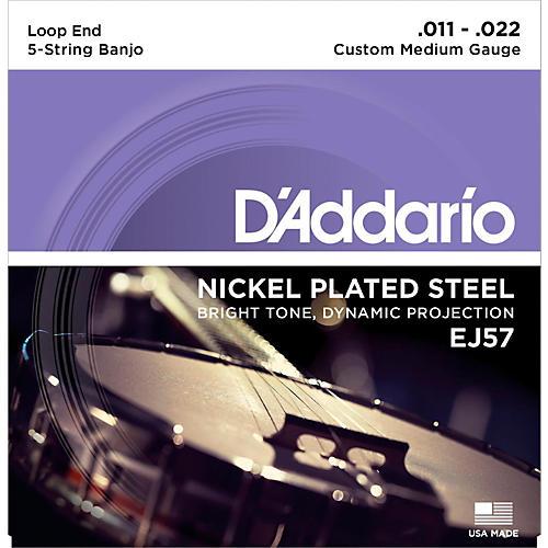 D'Addario EJ57 Nickel Custom Medium 5-String Banjo Strings (11-22)