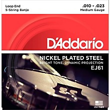 D'Addario EJ61 Nickel 5-String Medium Banjo Strings (10-23)
