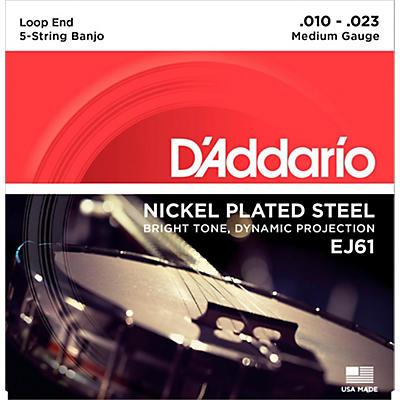 D'Addario EJ61 Nickel 5-String Medium Banjo Strings (10-23)