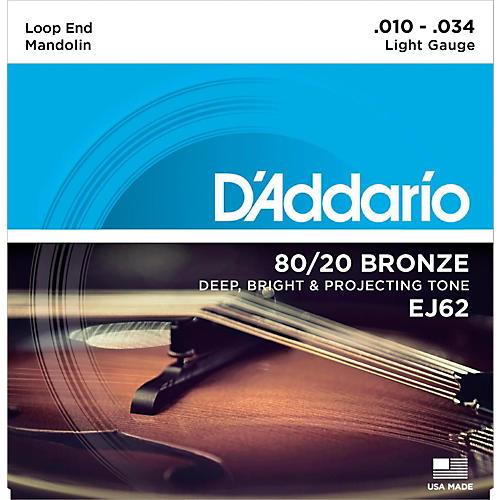 D'Addario EJ62 80/20 Bronze Mandolin Strings, Light, 10-34