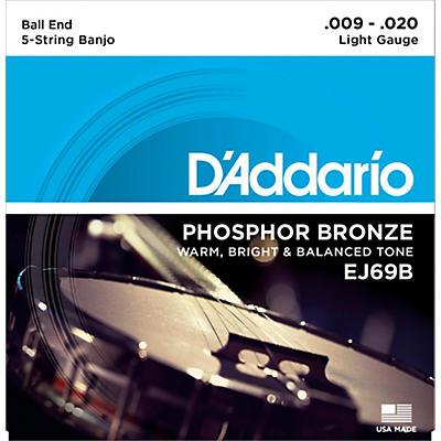 D'Addario EJ69 Phosphor Bronze Light 5-String Ball-End Banjo Strings (9-20)