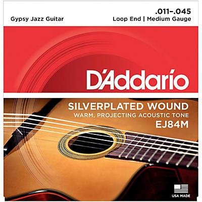 D'Addario EJ84M Gypsy Jazz Silver Wound Loop End Medium Guitar Strings