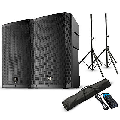 """Electro-Voice ELX200-15P 15"""" Powered Speaker Pair with Stands and Power Strip"""