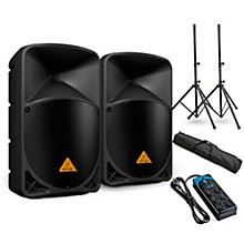 "Behringer EUROLIVE B112W 12"" Powered Speaker Pair and Power Strip"