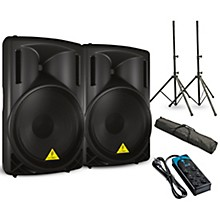 "Behringer EUROLIVE B215D 15"" Powered Speaker Pair with Stands and Power Strip"