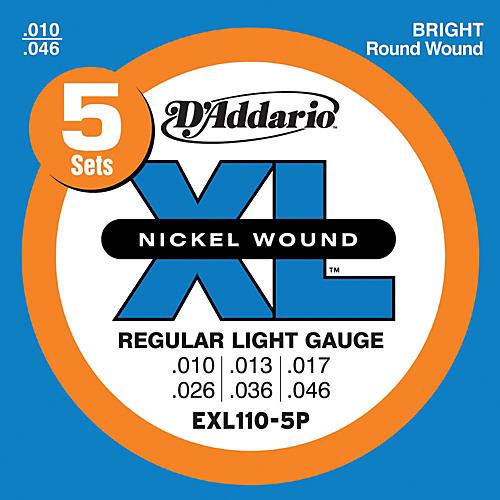 D'Addario EXL110-5P Electric Guitar Strings Regular Light