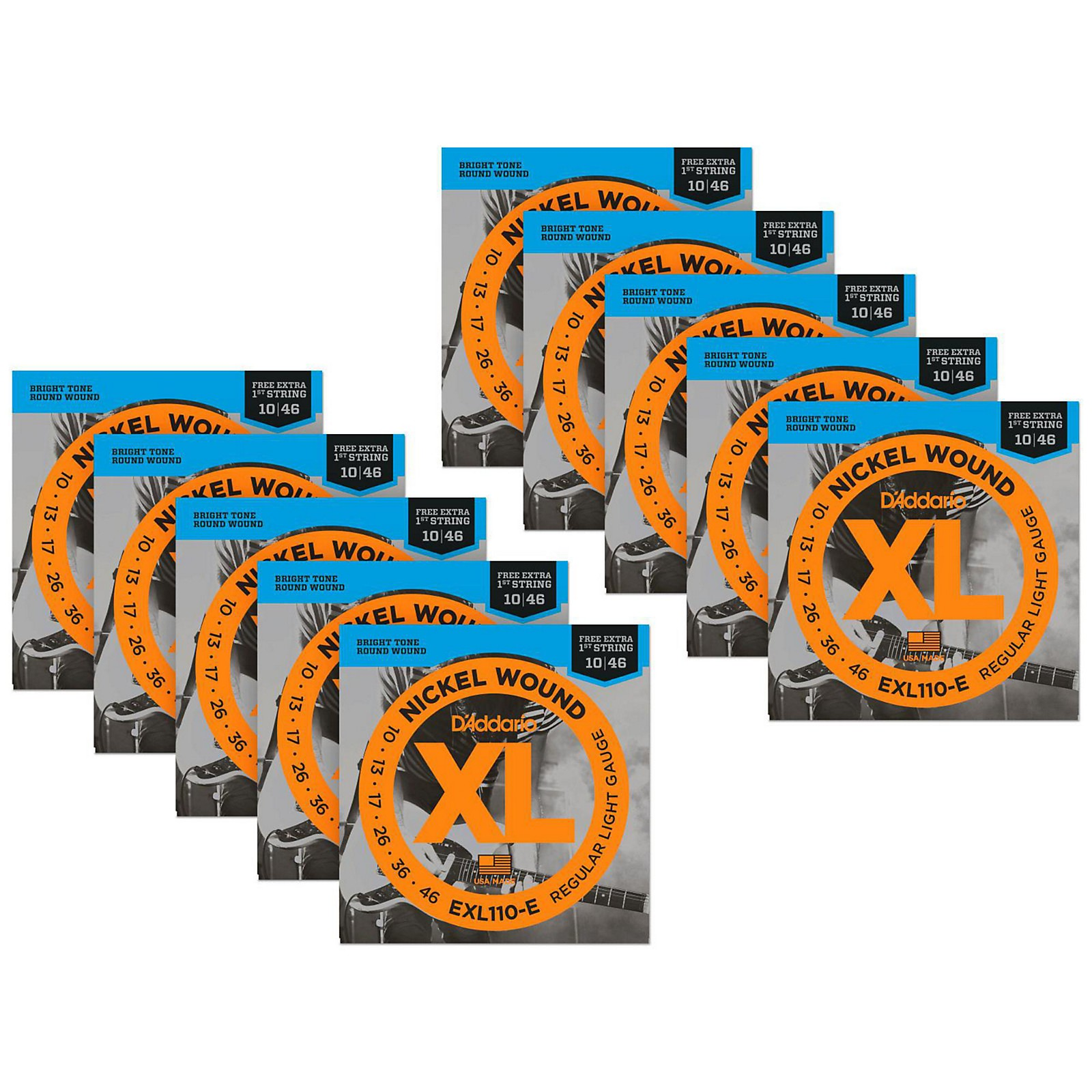 D'Addario EXL110-E Bonus Pack: Light Electric Guitar Strings 10 Packwith 10 Bonus High E Strings (10-46)